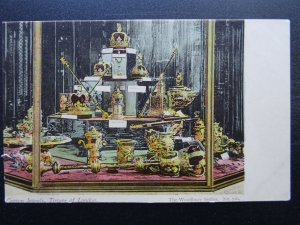 Royalty THE CROWN JEWELS at Tower of London - Old Postcard by Woodbury Series