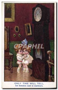 Old Postcard Fantasy Illustrator Child onyl time will tell Clock