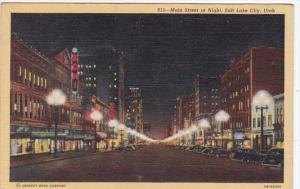 Utah Salt Lake City Main Street At Night Curteich