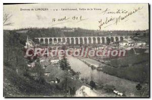 Old Postcard About Limoges Saint Leonard valley of the Vienna