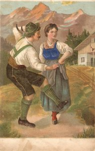 Country couple in typical dress. The dance Old vintage German postcard