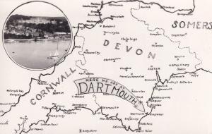 Dartmouth Cornwall Map Boats Old Real Photo Postcard