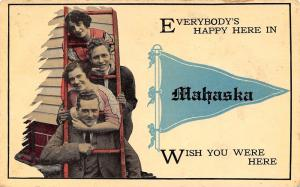 Everybodys Happy Here in Mahaska Kansas~Young People in Ladder~1915 Pennant PC