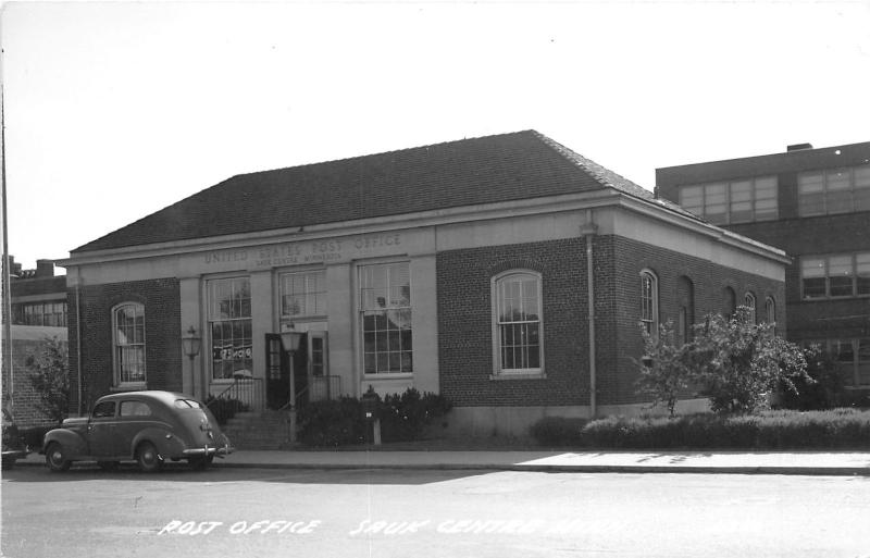 Sauk Centre Minnesota~Post Office~Doors Wide Open~Classic Car~1940s RPPC