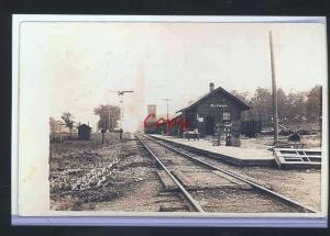 REAL PHOTO CLYMAN WISCONSIN RAILROAD DEPOT TRAIN STATION POSTCADR COPY