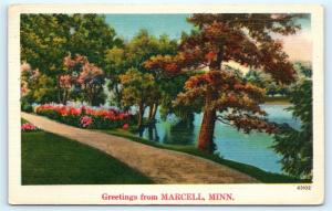 Postcard MN Marcell Scenic Greetings From Marcell Vintage Linen L12