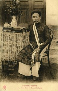 indochina, COCHINCHINE, Sous-Chef de Canton Indigène, Chinese Cook (1910s)