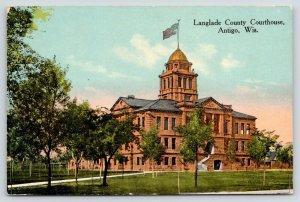 Antigo Wisconsin~Langlade County Courthouse~Flag On Top~Path to Door~1910 PC