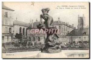 Postcard Old Troyes Square De La Prefecture Group In Bronze From Suchetet