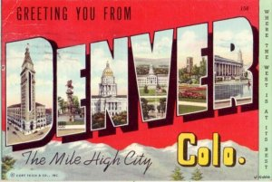GREETING YOU FROM DENVER, CO MILE HIGH CITY 1945