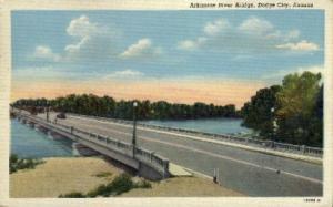Arkansas River Bridge Dodge City KS Postal Used Unknown
