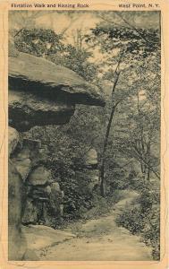 West Point New York~Flirtation Walk~Kissing Rock Overhangs Path~1930s Sepia PC