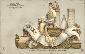 Hudon Fulton Celebration Statue of Liberty History of NY Float 1909 Postcard