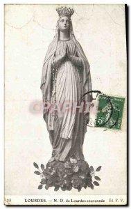 Old Postcard Lourdes N D Lourdes crowned