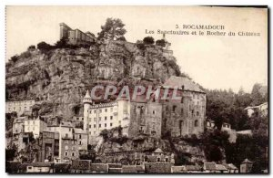 Old Postcard Rocamadour shrines and castle rock