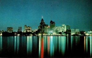 Michigan Detroit Skyline At Night