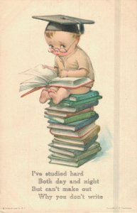 I've Studied Hard Both Day And Night - Postcard Boy Studying  03.94