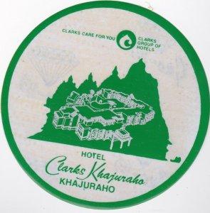 Sri Lanka Khajuraho Hotel Clarks Khajuraho Vintage Luggage Label lbl0974