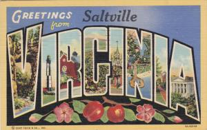 Large Letter Greetings Saltville VIRGINIA , PU-1947