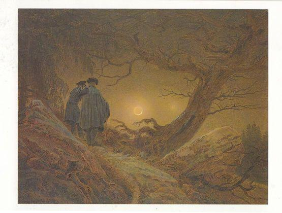 Casper Friedrich Two Men Contemplating The Moon Old Victorian Painting Postcard