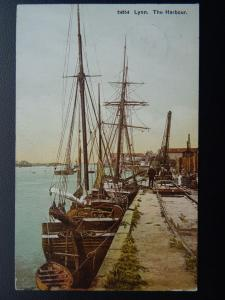 Norfolk KINGS LYNN The Harbour shows Sailing Ship & Railway Track c1911 Postcard