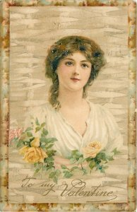 Valentine~Curly Brunette Awaits Love~Yellow Roses~Wicker Back~1905 UDB PC~Artist