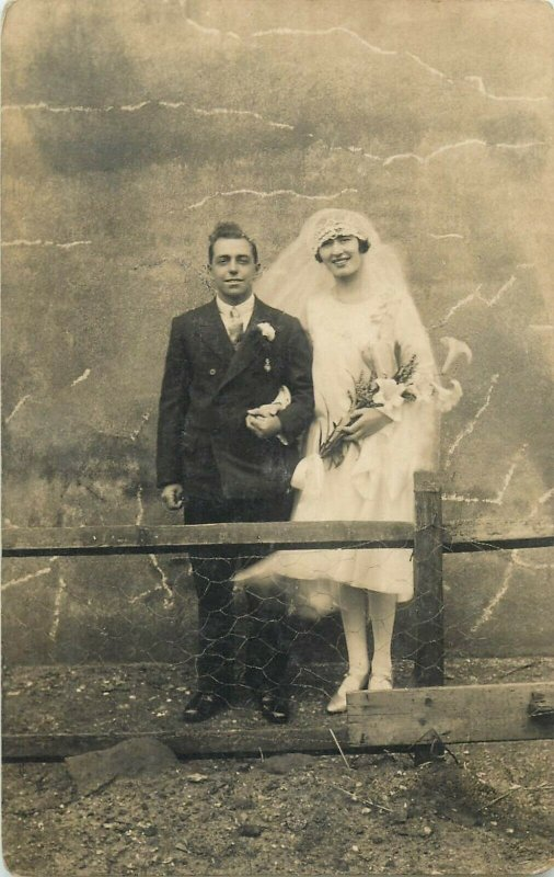 Social history early photo postcard wedding groom & bride