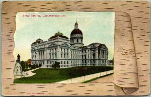 Indianapolis, Indiana Postcard STATE CAPITOL Building View w/ 1908 Cancel