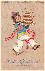 Birthday Greetings Boy with Desert Postcard J47142