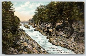 Hollis Maine~Bridge Above Rocky Gorge & Rapids of Saco River~c1910 Postcard