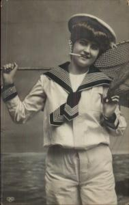 Beautiful Woman Sailor Outfit Fishing Net Smoking Cigarette c1910 RPPC