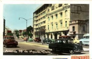ecuador, QUITO, Avenida 10 de Agosto, Cars (1958) Tinted RPPC, Many Stamps