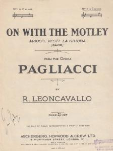 On With The Motley Pagliacci 1950s Sheet Music