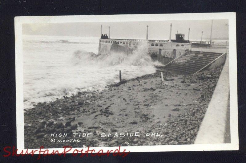Rppc Seaside Oregon High Tide Pacific Ocean Beach Vintage Real Photo Postcard Hippostcard