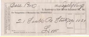 1870-71 Freight Receipt, HARTFORD & NEW HAVEN RAILROAD CO...