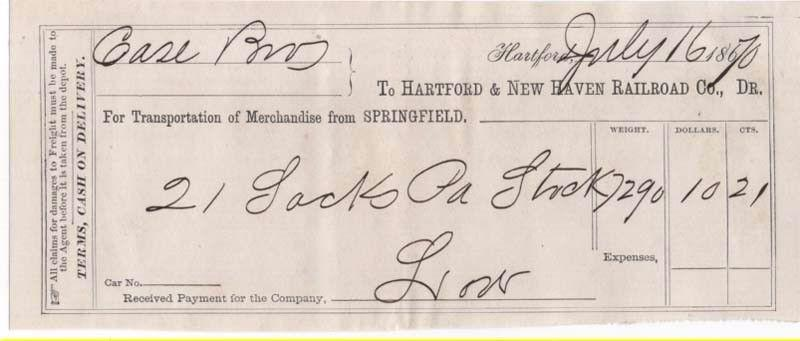 1870-71 Freight Receipt, HARTFORD & NEW HAVEN RAILROAD CO...