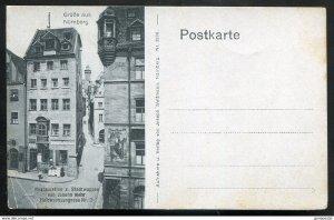 dc650 - GERMANY Nuernberg 1910s Gruss Aus. Restaurant. Halbwachsengasse