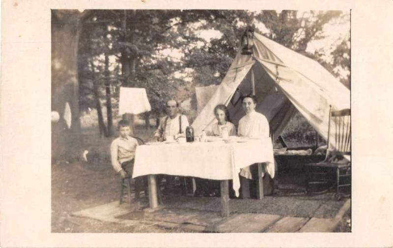 St Louis Missouri Family Camping Real Photo Antique Postcard J49785