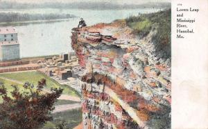 Lover's Leap & Mississippi River, Hannibal, Missouri, Early Postcard, Used