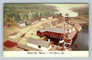 Sault St Marie MI- Michigan, Diorama Sault St. Marie, Chrome c1955Postcard