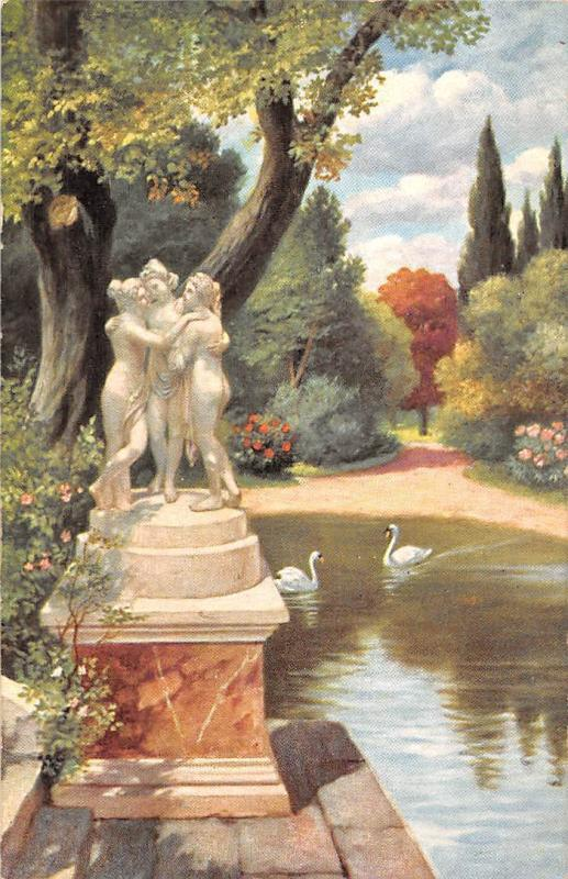 The Popular Series Statue, Statuette, Ladies Women Sculpture, Swans