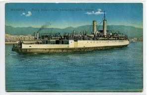 Ferry Boat Railroad Ship Steamer Messina Italy 1910c postcard