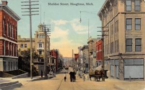 Houghton Michigan~Sheldon Street~Men Talk Boys~Horse Wagon Blanket~Trolley~1912