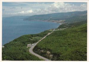 Canada Aerial View Of Pleasant Bay On Cabot Trail Seen From MacKenzie Mountai...