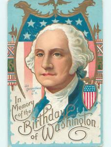 Pre-Linen patriotic LARGE CLOSE-UP VIEW OF PRESIDENT GEORGE WASHINGTON HJ3037