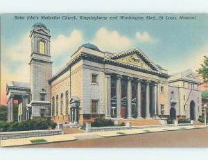 Linen ST. JOHN CHURCH SCENE St. Saint Louis Missouri MO p4746