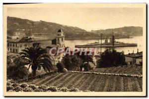Old Postcard Villefranche War Boat In Rade