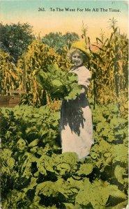 Cabbage Harvest Washington C-1910 Farm Agriculture Postcard Spokane 7474