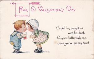 Valentine's Day Young Children Kissing 1917