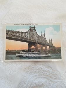 Antique Postcard, Queensboro Bridge, East River, New York